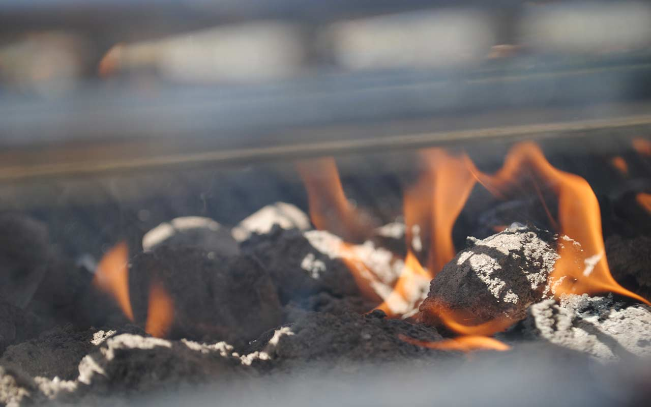 Hot coals ready for a barbecue